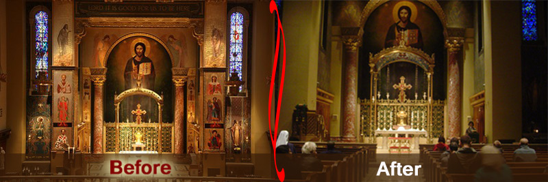 Church of Our Saviour in NYC before new pastor removed 14 of 30 icons without notice or explanation.